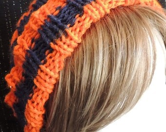 Knitted Mens or Womens Sport Fan Blue & Orange Team Colors Ribbed Hat