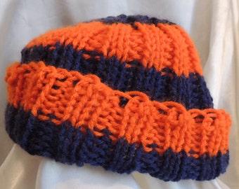 Knitted Blue & Orange Stripe Ribbed Hat, Child Size