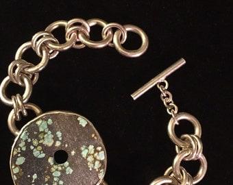 Large Tibetan turquoise donut & sterling silver bracelet