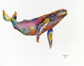 ORIGINAL Painting - Watercolor Whales - ORIGINAL Watercolor Humpback Whale 18x24 on Clayboard