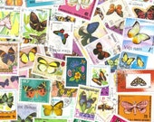 50 Butterfly postage stamps for scrapbooking - collage - card making
