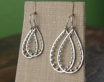 Sterling silver teardrop earrings, granulated, granulation, drop earrings, pear shaped earrings, silver dangle