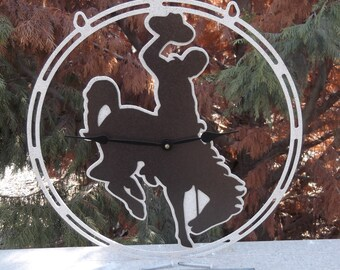 Wyoming Cowboy clock, Cowgirl, Western, Country Living, Ranch decor, Metal Art, Horse back riding, Bucking Bronco, Rodeo, Wall clock, Farm