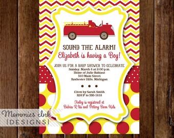 Fire Truck Invitation, Chevron, Fire Truck Baby Shower Invitation, Fire Truck Invite, Fire Engine Invitation, Baby Shower Invitation, DIY