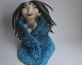 New Moon Medicine Goddess of Meditation and Planetary Records Sculpture OOAK Purple Dreadlock Hair Spirit Doll Needle Felted Prayer Hands