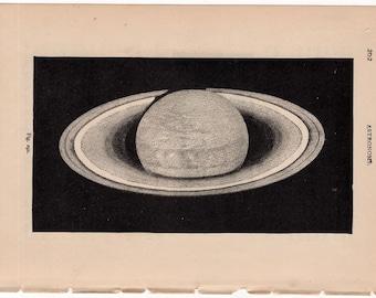 1884 saturn  planet print original antique astronomy lithograph