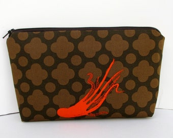 Make up Zipper Pouch, Giant Octopi in Brown, Heather Ross Fabric