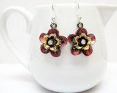 SALE Rose Flower and Crystal Earrings - Pink Flower and Crystal Earrings - Metal Earrings - Flower Jewelry - Dangle Earrings - Small Earring