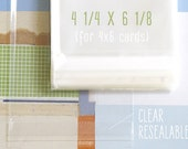 100 - 4 1/4 x 6 1/8 Clear Resealable Bags Cellophane Bags 4x6 Cards Will Fit in the Clear Bag