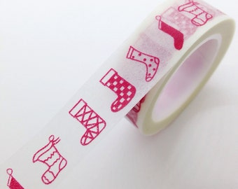 Holiday Christmas Stocking Washi Tape Red Stocking diy Gift Wrap Christmas decorations