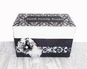 Wedding Recipe Box Personalized Black & White Damask
