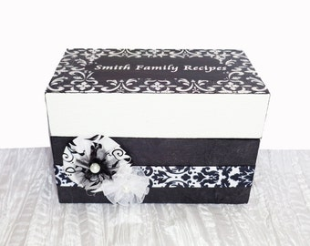 Wedding Recipe Box Personalized Black & White Damask