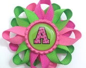 "Initial, Personalized 3"" Hair Bow - 3 inch Raspberry Rose, Hot Pink, Apple Green Hair Bow - Hair Bow Barrette - French Clip - Made To Order"