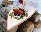Rustic Christmas Hearts, Heart Ornaments, French County Hearts, Cinnamon Wood Hearts, White Christmas Hearts, White Wood Hearts