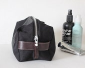 Dopp bag Toiletry case hemp organic cotton and leather
