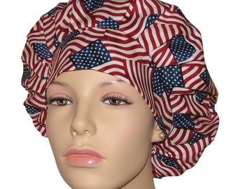 Scrub Hats - Patriotic Red White And Blue Waving Flags