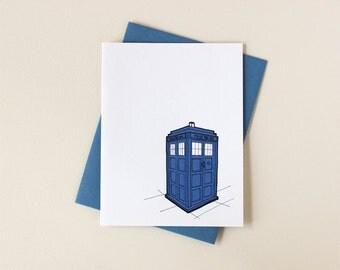 Doctor Who Inspired Tardis Blank Notecard Set