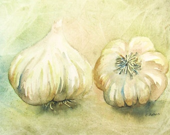 Original Watercolour Painting Still Life of Garlic Art For Sale