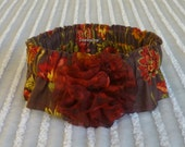 """Custom for CathyW - Sunflowers on Brown Dog Scrunchie Collar - maroon rosette - Size XXL: 20"""" to 22"""" neck"""