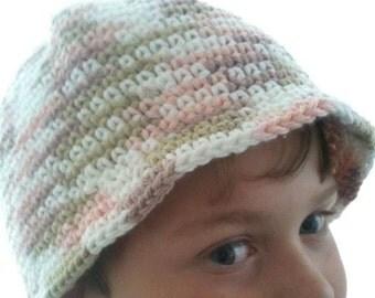 Bucket Hat - Cotton - Sun Hat- Crocheted - Tan-Jute-Peach - Teen - Ready to ship