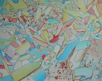 """Art & Collectibles Original Abstract Mixed Medium Painting Quebec Canada By Jacques Audet """" Pulsations """" 16"""" x 20"""""""
