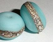 Silvered Amazonite  Set of -2- Handmade Lampwork Glass Beads silver beach aqua sea glass sterling summer Beatlebaby