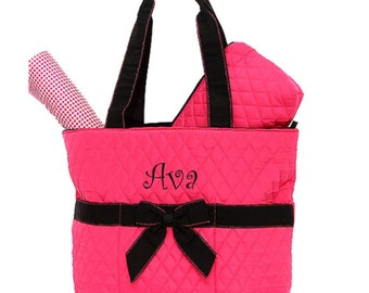 Quilted 3 Piece Pink Diaper Bag with Black accents