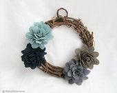 Fall Floral Wreath. Teal Grey Dark Blue Sage Fabric Flowers Wreath Decor. Housewarming Christmas Gift