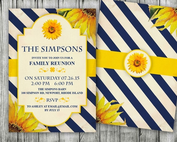 items similar to sunflower family reunion invitations housewarming party invitation on etsy. Black Bedroom Furniture Sets. Home Design Ideas