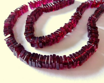 "27% SALE! (Code: 27OFF20) RED GARNET Smooth Square Heishi Beads, 5mm, 2"" Strand, natural gemstone beads, wine red merlot"