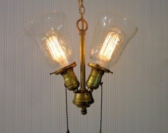 Brooks. Mixed Media INDUSTRIAL Minimalist Vintage Chandelier Light Duo with Edison Bulbs