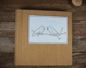 Linen Archival Photo Album with Hand Embroidered Wool Felt Patch: Birds by Kata Golda