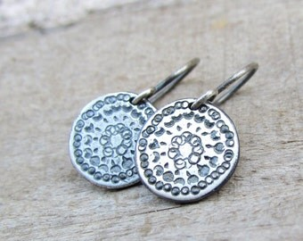 Oxidized Silver Disc Earrings, Sterling Silver Earring, Simple Silver Dangle Earrings, Sterling Silver Earrings Dangle