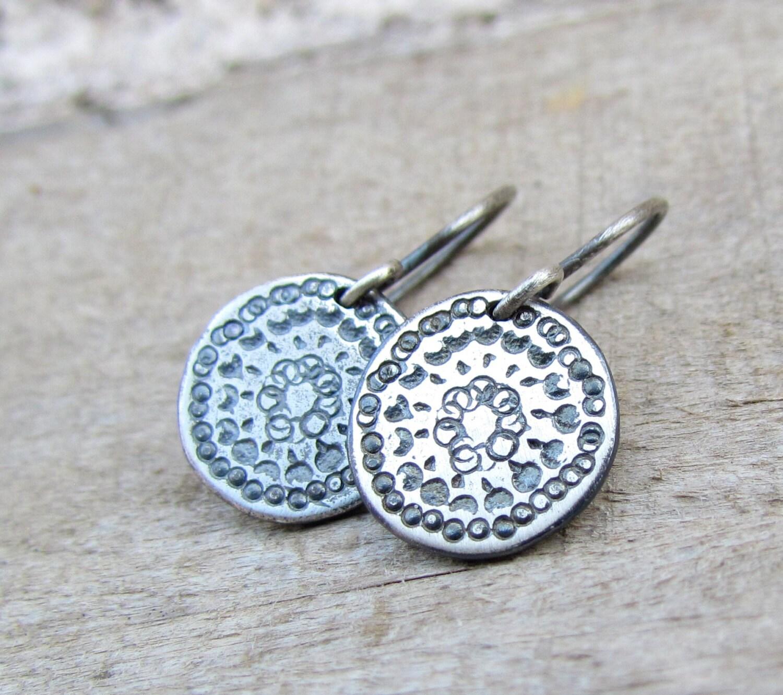 Oxidized Silver Disc Earrings Sterling Silver Earring Simple