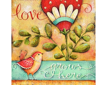 Love Grows Here 8x10 or 11x14 Inspirational Art Print Family Home House Blessing Christian Housewarming Wall Art Print