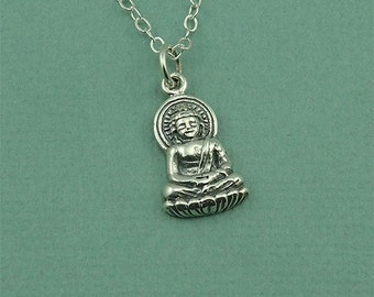 Buddha Necklace - Sterling Silver Buddhist Necklace, Yoga Jewelry, Buddha Pendant, Sitting Buddha, Yoga Gifts, Buddhist Jewelry