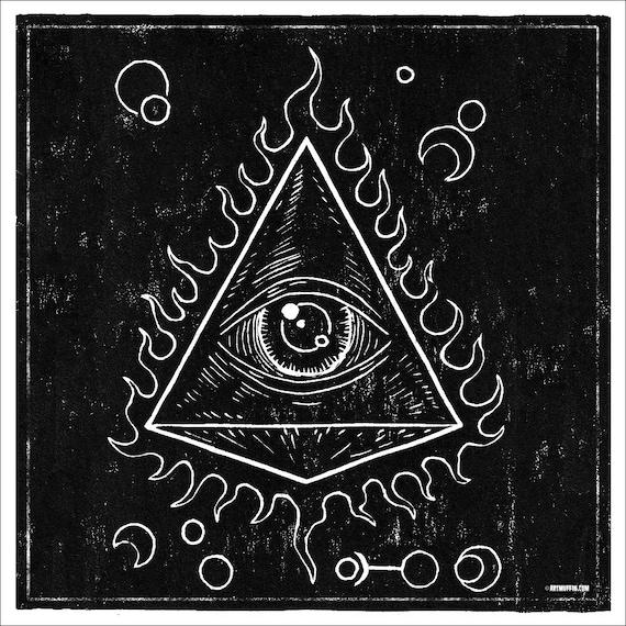 Illuminati Flaming Eye and Symbols