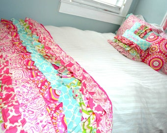Ruffled Bed Scarf Bed Runner in Kumari Garden Fabric