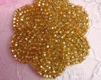 FS1594 Gold Floral Beaded Applique (FS1594-GL)