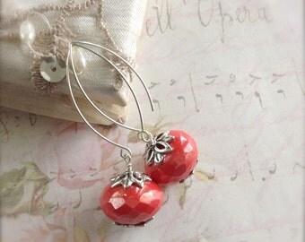 Coral Red Earrings Sterling Silver Long Earwires Dress Up Earrings Inner Diva Earrings