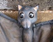 OOAK Baby Bat Pup Bella art doll figure hanging Halloween Black Brown posable wings