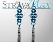Celtic Cross Earrings - blue and silver earrings - byzantine chainmail earrings - handmade celtic jewelry - silver pendant earrings