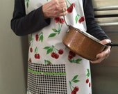 Retro 40s full sized oilcloth apron with cherries on white