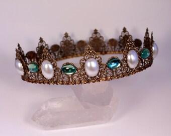 BYO Renaissance Crown Medieval Crown Game of Thrones Tudor Fantasy Filigree Tiara Antique Gold Finish