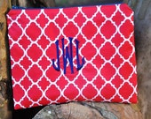 Embroidered  Red Trefoil Zippered Pouch, made in Hawaii with Navy and White Polka Dot fabric lining