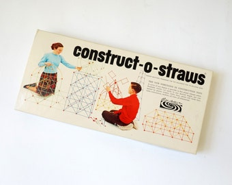 Vintage 1960s Toy / Parker Brothers Construct-O-Straws 1964 Like-New / Construction, Build, Imagination Toy for All Ages