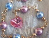 Baby Toddler 14K Gold Filled n 925 Sterling Silver Swarovski Pearl Bracelet n Heart Handmade Colours Wire Wrapped Flower Girl Christening