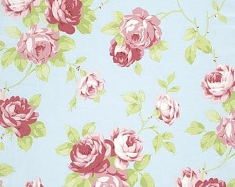 Lulu Roses Fabric From Tanya Whelan 92 Bunches of Rose Roses Floral Flowers on Light Blue