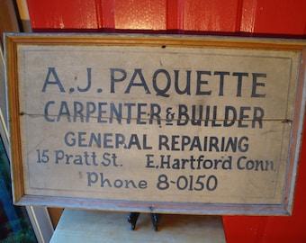 Antique A. J. Paquette Builder Sign East Hartford Connecticut