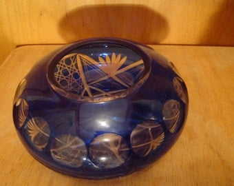Bohemian Glass Bowl is Cobalt Blue